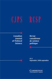 Canadian Journal of Political Science/Revue canadienne de science politique Volume 41 - Issue 3 -