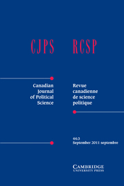 Canadian Journal of Political Science/Revue canadienne de science politique Volume 44 - Issue 3 -