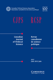 Canadian Journal of Political Science/Revue canadienne de science politique Volume 45 - Issue 2 -