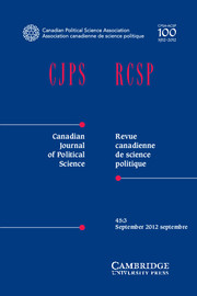 Canadian Journal of Political Science/Revue canadienne de science politique Volume 45 - Issue 3 -