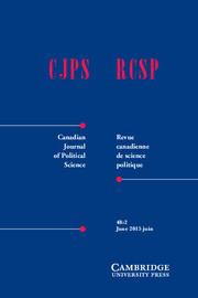 Canadian Journal of Political Science/Revue canadienne de science politique Volume 48 - Issue 2 -