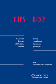 Canadian Journal of Political Science/Revue canadienne de science politique Volume 49 - Issue 4 -