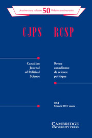 Canadian Journal of Political Science/Revue canadienne de science politique Volume 50 - Issue 1 -