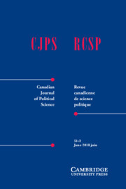 Canadian Journal of Political Science/Revue canadienne de science politique Volume 51 - Issue 2 -