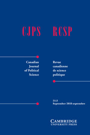 Canadian Journal of Political Science/Revue canadienne de science politique Volume 51 - Issue 3 -