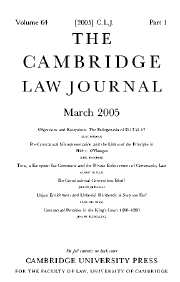 The Cambridge Law Journal Volume 64 - Issue 1 -