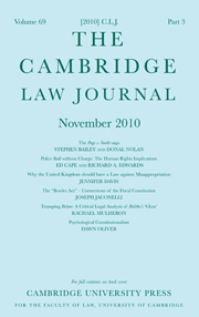 The Cambridge Law Journal Volume 69 - Issue 3 -