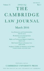 The Cambridge Law Journal Volume 75 - Issue 1 -