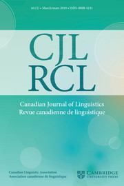 Canadian Journal of Linguistics/Revue canadienne de linguistique Volume 64 - Issue 1 -