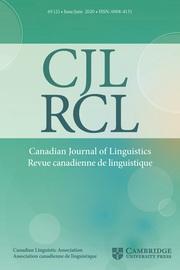 Canadian Journal of Linguistics/Revue canadienne de linguistique Volume 65 - Issue 2 -