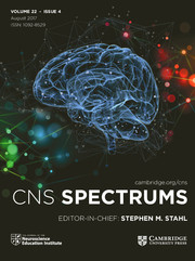 CNS Spectrums Volume 22 - Issue 4 -