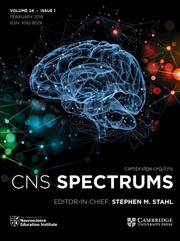 CNS Spectrums Volume 24 - Issue 1 -