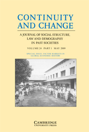 Continuity and Change Volume 24 - Issue 1 -  FACTOR MARKETS IN GLOBAL ECONOMIC HISTORY