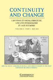 Continuity and Change Volume 31 - Special Issue1 -  Lodgers in Rural and Urban Europe in the Past