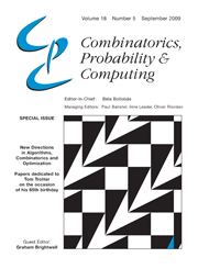 Combinatorics, Probability and Computing Volume 18 - Issue 5 -  New Directions in Algorithms, Combinatorics and Optimization