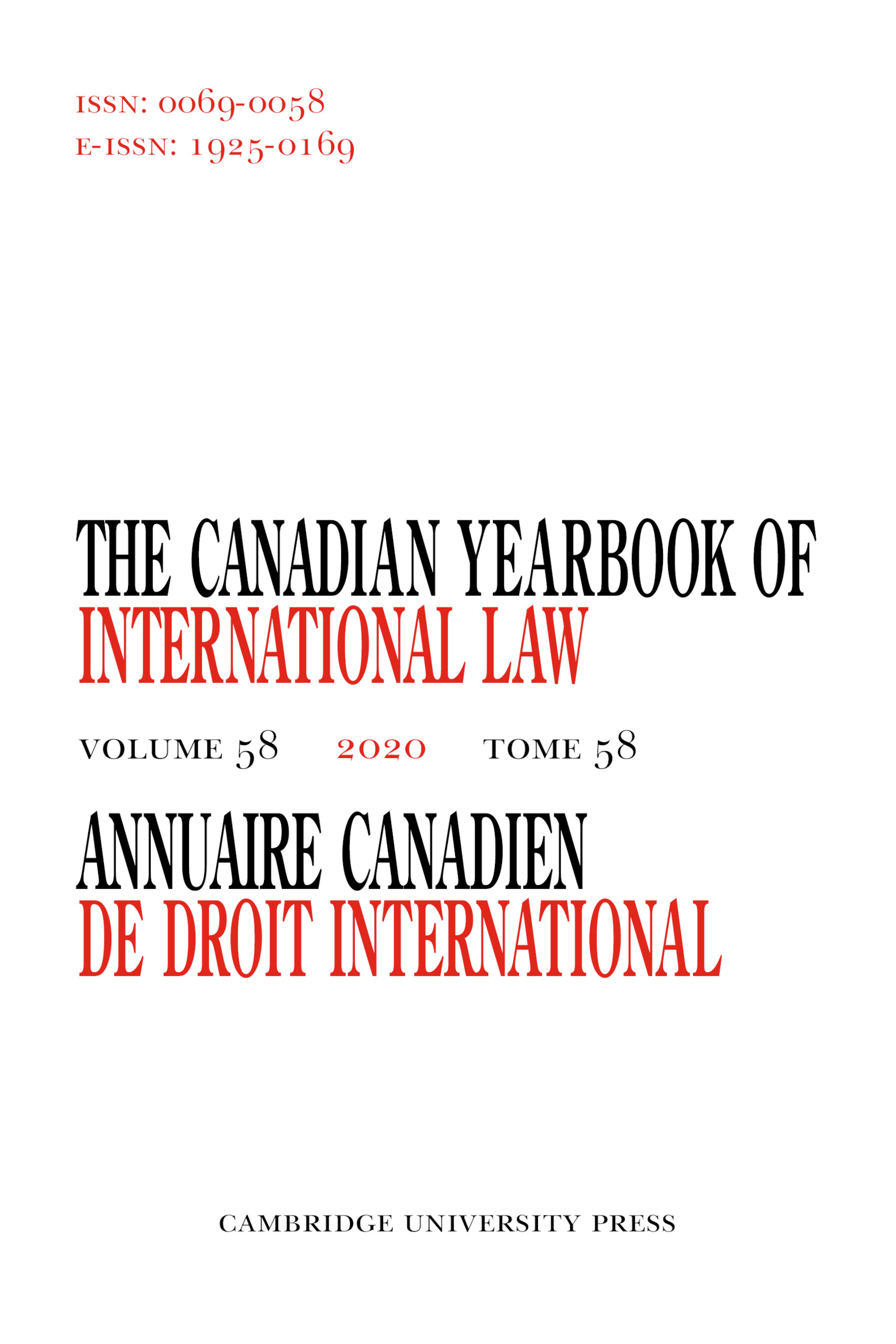 Canadian Yearbook of International Law/Annuaire canadien de droit international