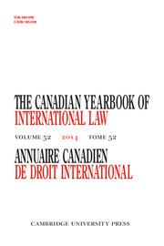 Canadian Yearbook of International Law/Annuaire canadien de droit international Volume 52 - Issue  -