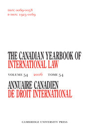 Canadian Yearbook of International Law/Annuaire canadien de droit international Volume 54 - Issue  -
