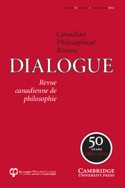 Dialogue: Canadian Philosophical Review / Revue canadienne de philosophie Volume 51 - Issue 1 -