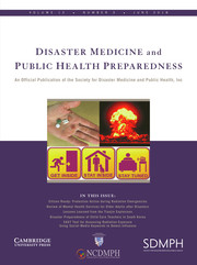 Disaster Medicine and Public Health Preparedness Volume 12 - Issue 3 -