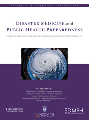 Disaster Medicine and Public Health Preparedness Volume 12 - Issue 4 -