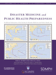 Disaster Medicine and Public Health Preparedness Volume 13 - Special Issue1 -  Serial Hurricanes