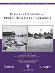 Disaster Medicine and Public Health Preparedness Volume 13 - Issue 4 -