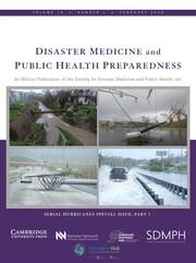 Disaster Medicine and Public Health Preparedness Volume 14 - Issue 1 -
