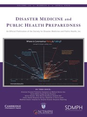 Disaster Medicine and Public Health Preparedness Volume 14 - Issue 2 -