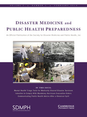 Disaster Medicine and Public Health Preparedness Volume 7 - Issue 1 -