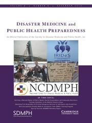 Disaster Medicine and Public Health Preparedness Volume 8 - Issue 6 -