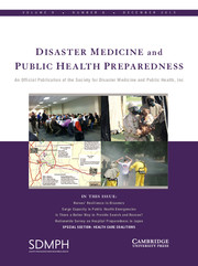 Disaster Medicine and Public Health Preparedness Volume 9 - Issue 6 -