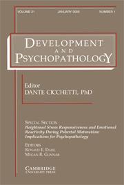 Development and Psychopathology Volume 21 - Issue 1 -