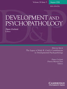Development and Psychopathology Volume 26 - Special Issue3 -  The Legacy of Nicki R. Crick's Contributions to Developmental Psychopathology