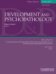 Development and Psychopathology Volume 32 - Special Issue4 -  Conceptualizing and Interrogating Autism Spectrum Disorder from a Developmental Psychopathology Framework