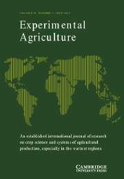 Experimental Agriculture Volume 39 - Issue 3 -