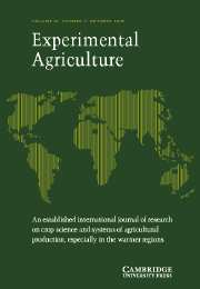 Experimental Agriculture Volume 39 - Issue 4 -