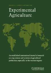 Experimental Agriculture Volume 41 - Issue 4 -