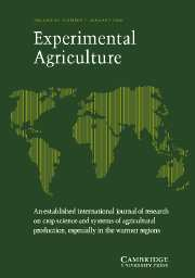 Experimental Agriculture Volume 42 - Issue 1 -