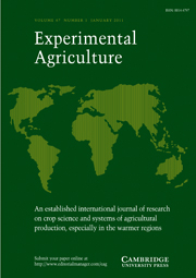 Experimental Agriculture Volume 47 - Issue 1 -