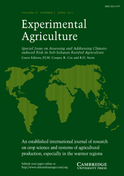 Experimental Agriculture Volume 47 - Special Issue2 -  Assessing and Addressing Climate-induced Risk in Sub-Saharan Rainfed Agriculture