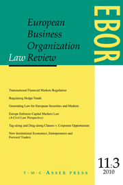 European Business Organization Law Review (EBOR) Volume 11 - Issue 3 -