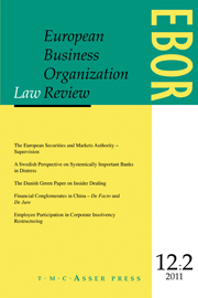 European Business Organization Law Review (EBOR) Volume 12 - Issue 2 -