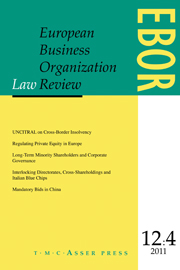 European Business Organization Law Review (EBOR) Volume 12 - Issue 4 -