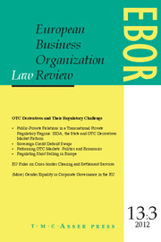 European Business Organization Law Review (EBOR) Volume 13 - Issue 3 -