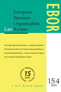 European Business Organization Law Review (EBOR) Volume 15 - Issue 4 -