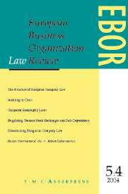 European Business Organization Law Review (EBOR) Volume 5 - Issue 4 -