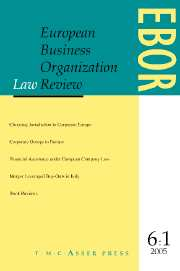 European Business Organization Law Review (EBOR) Volume 6 - Issue 1 -