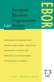 European Business Organization Law Review (EBOR) Volume 7 - Issue 3 -