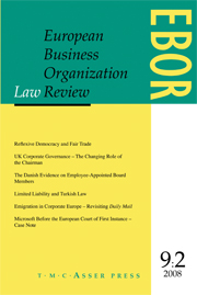 European Business Organization Law Review (EBOR) Volume 9 - Issue 2 -
